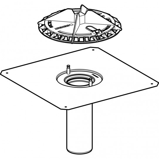 Воронка Geberit Pluvia с соединительным фартуком, решетка воронки из алюминиевого литья
