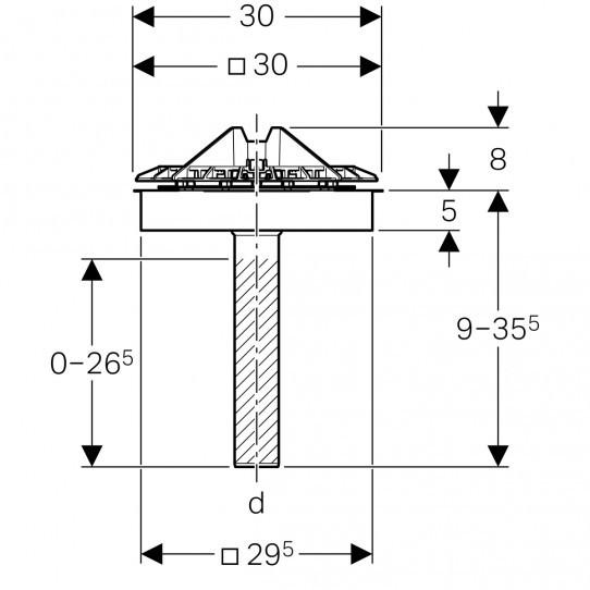Воронка Geberit Pluvia с крепежным фланцем, для кровельных покрытий, решетка воронки из алюминиевого литья