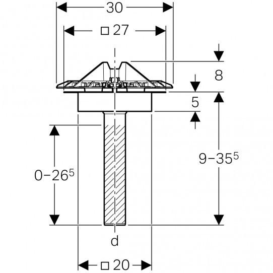 Воронка Geberit Pluvia с соединительным фартуком, для желобов, решетка воронки из алюминиевого литья