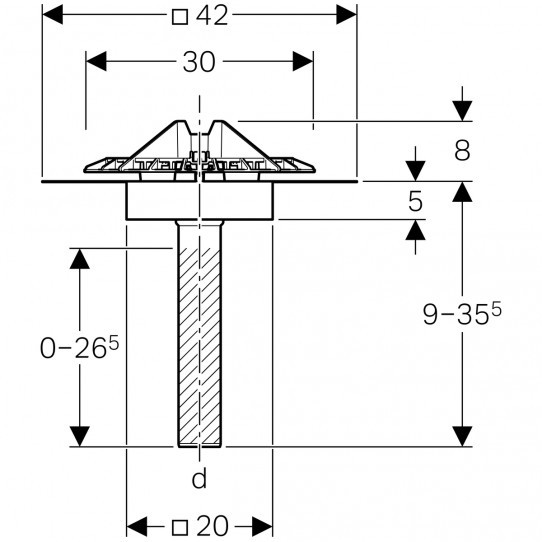 Воронка Geberit Pluvia с крепежным фланцем, решетка воронки из алюминиевого литья