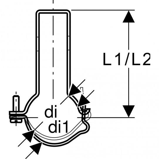 Хомут регулируемый Geberit Pluvia, с крепежным зажимом